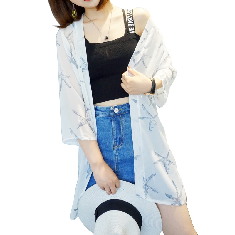 HTB1IXVUKqmWBuNjy1Xaq6xCbXXaG - Blusas Mujer De Moda  New Women Summer Chiffon Blouse Pinted Casual Kimono Cardigan Long Blouses Sunscreen Tops Plus Size
