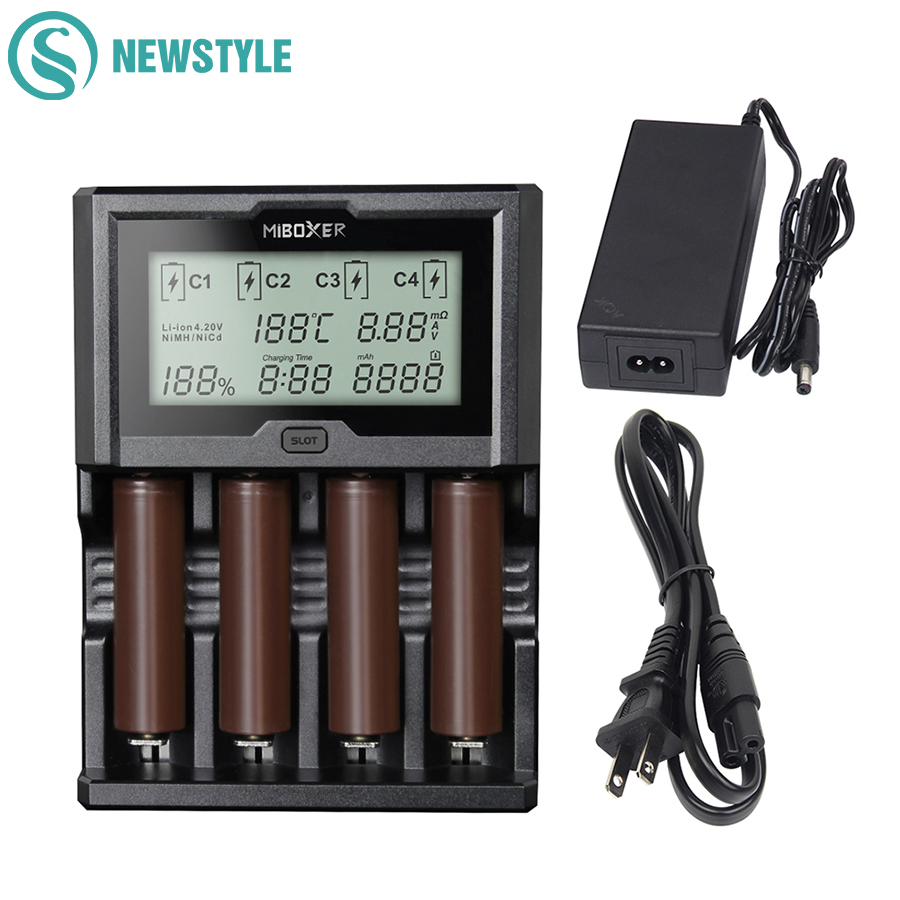 Miboxer 4Slots 3A/slot LCD Battery Charger 18650 Fully Automatic Fast Charger 12V With Power Bank Function For 26650 AA AAA evewher lcd 18650 battery charger 4 slots lithium battery charger for 26650 18650 14500 aa aaa charging li ion batteries charges