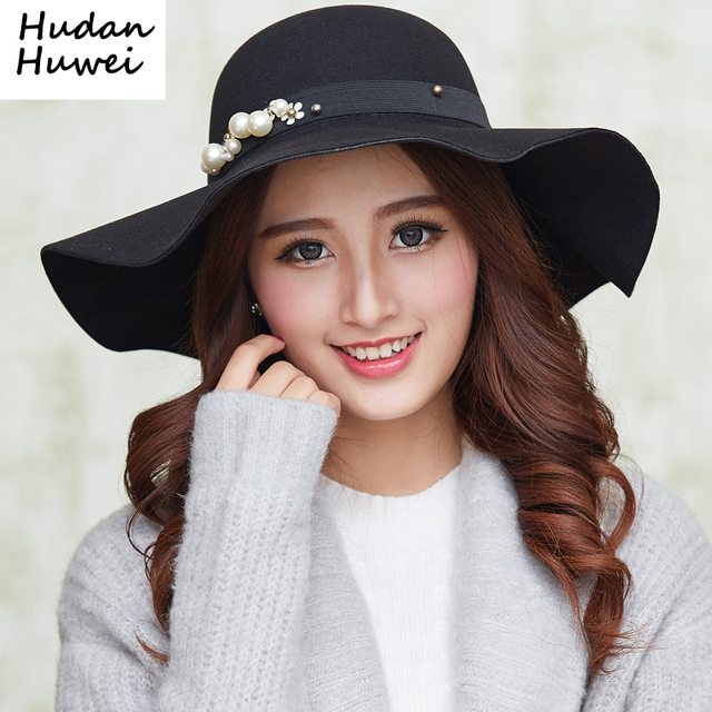 2c69ad5f100c7 Autumn Winter Hats Caps for Women Fashion Wool Felt Fedora Hat with Pearl  Ladies Girls Wide Brim Top Hats Dome GH-209