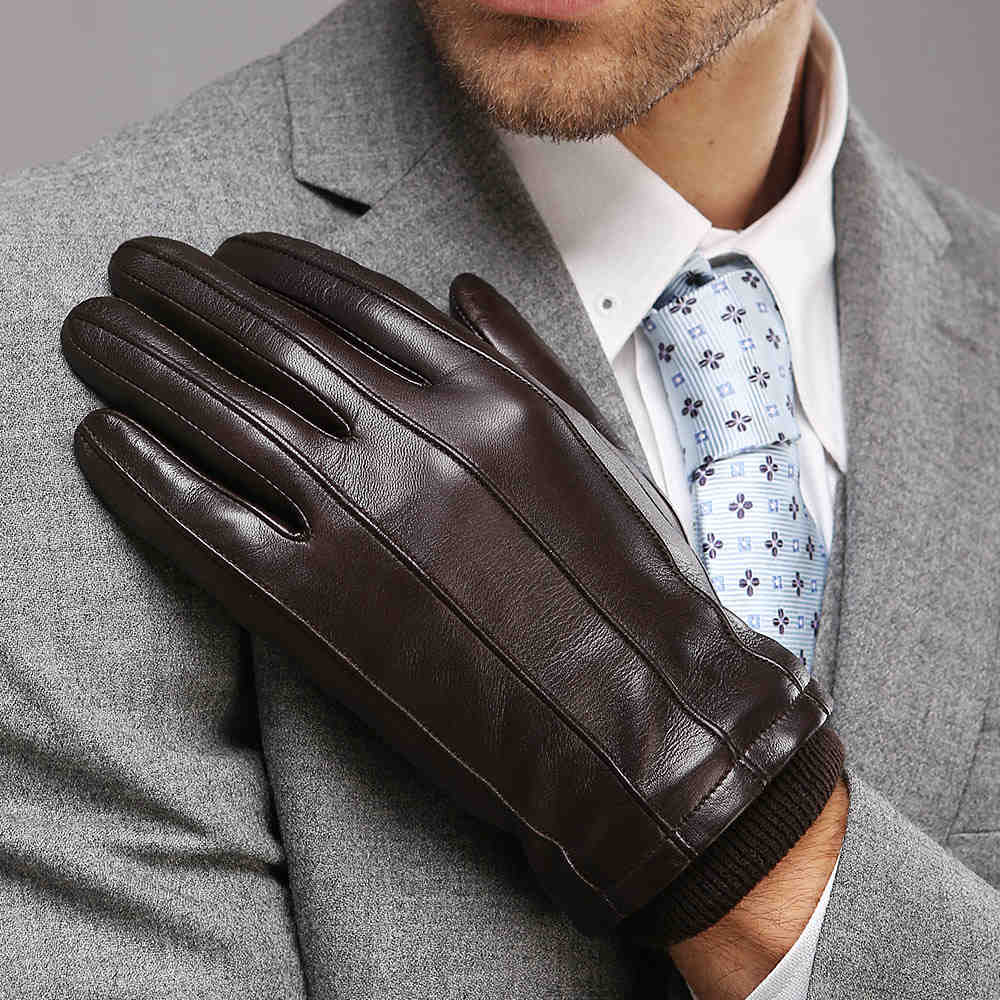Mens gloves for smartphones - Genuine Leather Men Gloves Autumn And Winter Thermal Goatskin Driving Gloves High Quality Classic Lines Hot Trendy M006nz