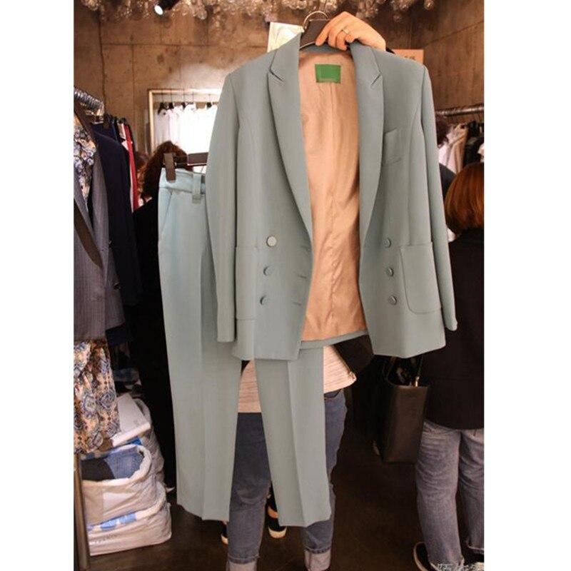 Nouvelle Vêtements 2 Deux 2019 De Costume Femmes 3 Sarouel Tempérament Mode Printemps Veste Couleur 1 Long Solide Lâche Ensembles Pq1ZwTI