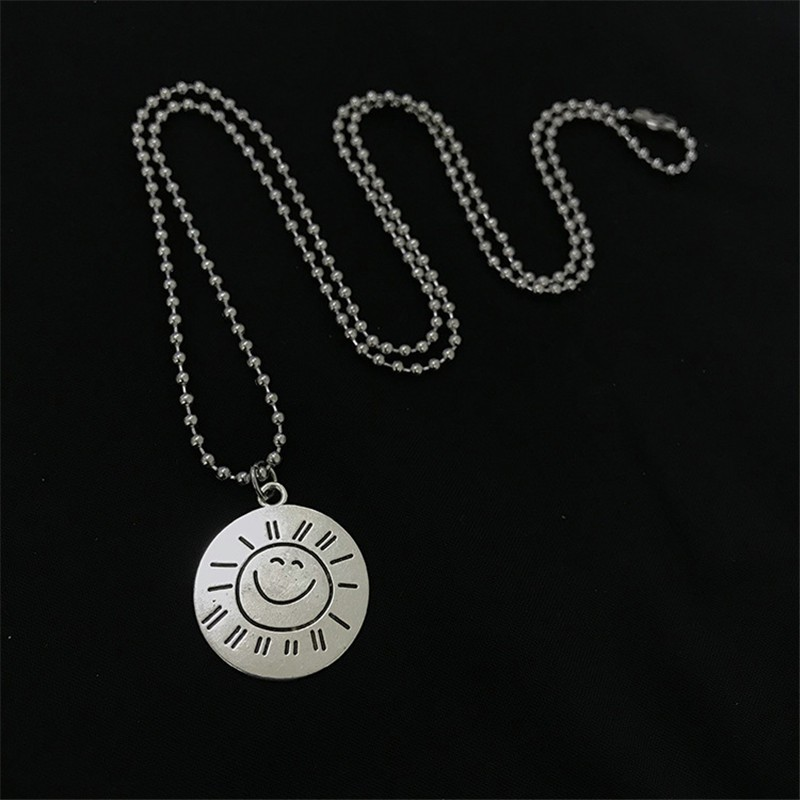 Hip Hop Harajuku Retro Sun Smiley Round Necklace English Letters Round Tag Clavicle Chain Female in Pendant Necklaces from Jewelry Accessories