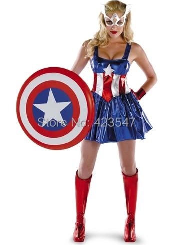 Captain America Deluxe Female Adult Costume