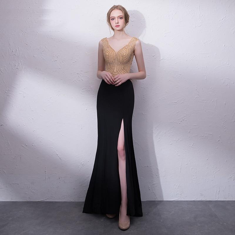 Elegant Black V-neck Gold Beading Robe De Soiree Sexy Side Split Backless Mermaid Formal Long   Evening     Dresses   2019 Party Gowns