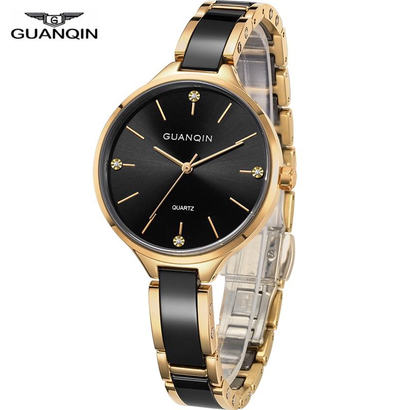 GUANQIN 2018 watch Women dress ladies watch waterproof Quartz Wrist watches Ceramic zegarek damski fashion Gold relogio feminino|Women's Watches| |  - title=