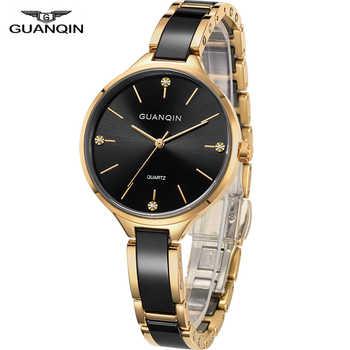 GUANQIN 2018 watch Women dress ladies watch waterproof Quartz Wrist watches Ceramic zegarek damski fashion Gold relogio feminino - DISCOUNT ITEM  48 OFF Watches