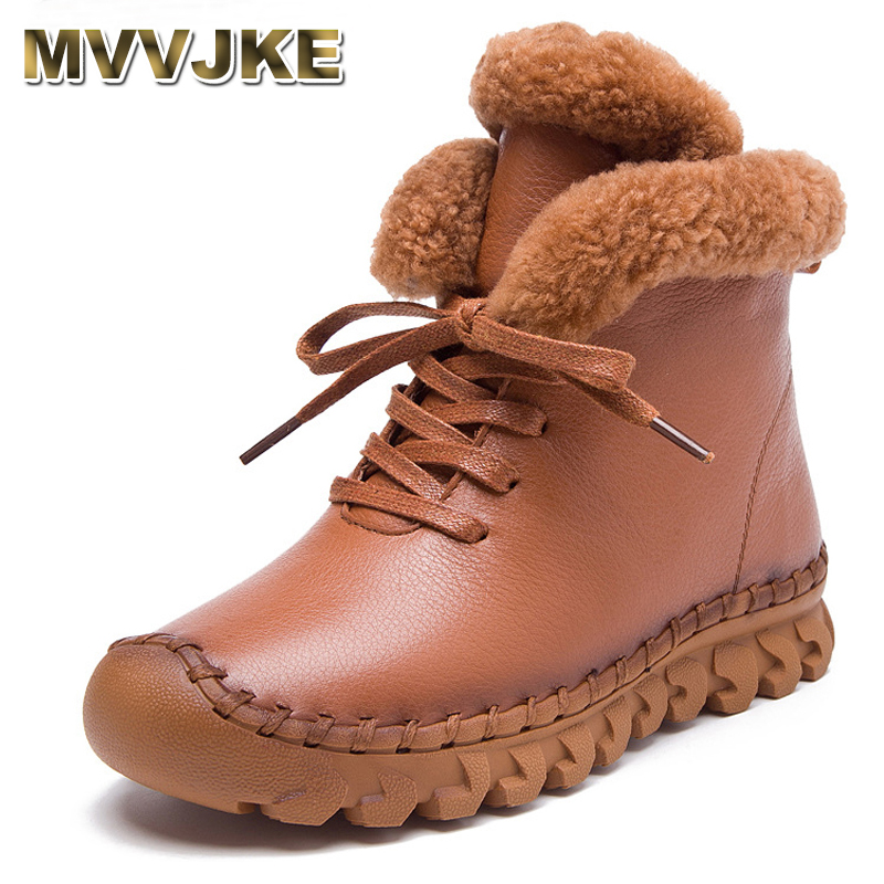 MVVJKE Handmade Ankle Boots Martin Flat Boots 100% Real Genuine Leather Shoes Retro Winter Snow Boots Botines Mujer Women Shoes beyarne 2018 women s ankle boots autumn winter soft handmade retro martin boots flat shoes 100