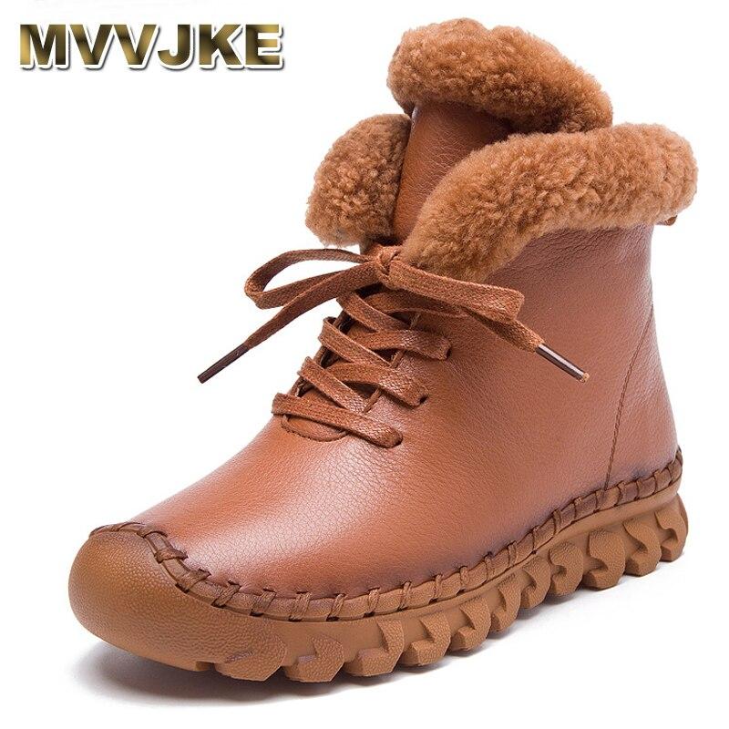MVVJKE/ботильоны ручной работы; Ботинки на плоской подошве; Обувь из 100% натуральной кожи; Зимние ботинки в стиле ретро; Botines Mujer; Женская обувь boots martin flat bootssnow boots   АлиЭкспресс