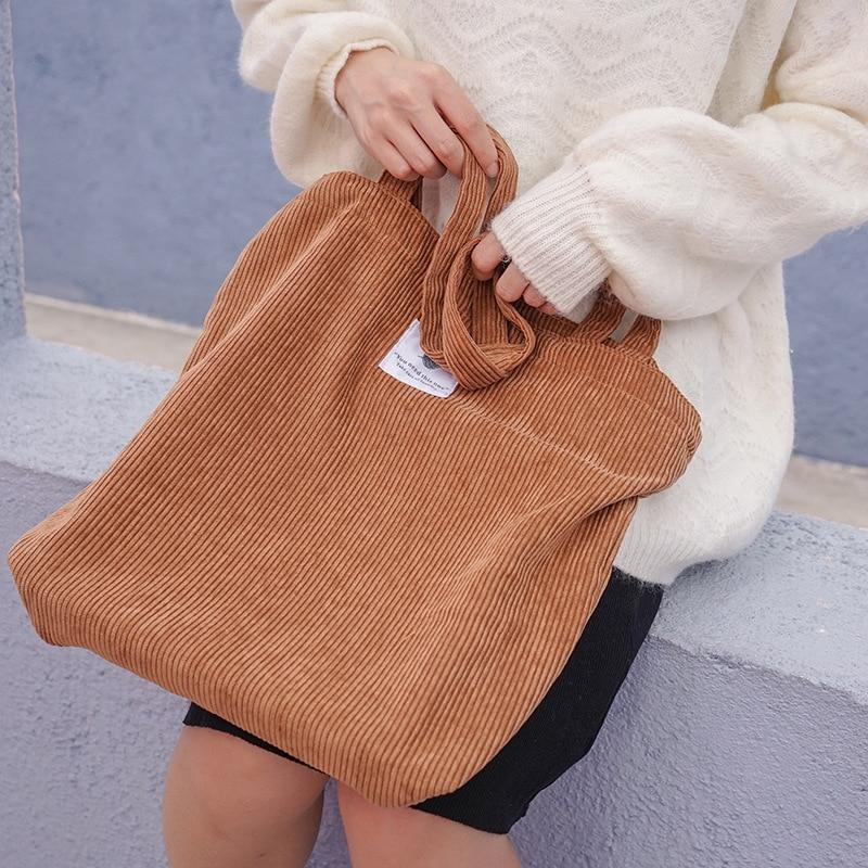 Women Corduroy Shopping Bag Female Canvas Cloth Shoulder Bag Environmental Storage Handbag Reusable Foldable Eco Grocery Totes(China)