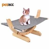 Petacc High Quality Cat Wooden Hammock Comfortable Cat Bed Hammock Wooden Frame Cat Hammock With Soft