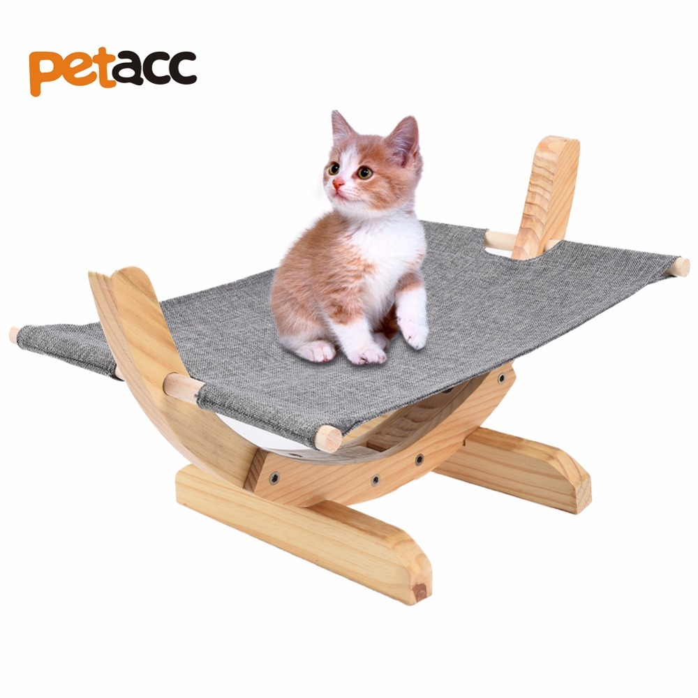 Petacc High quality Cat Wooden Hammock Comfortable Cat Bed Hammock Wooden Frame Cat Hammock with Soft Linen Mat