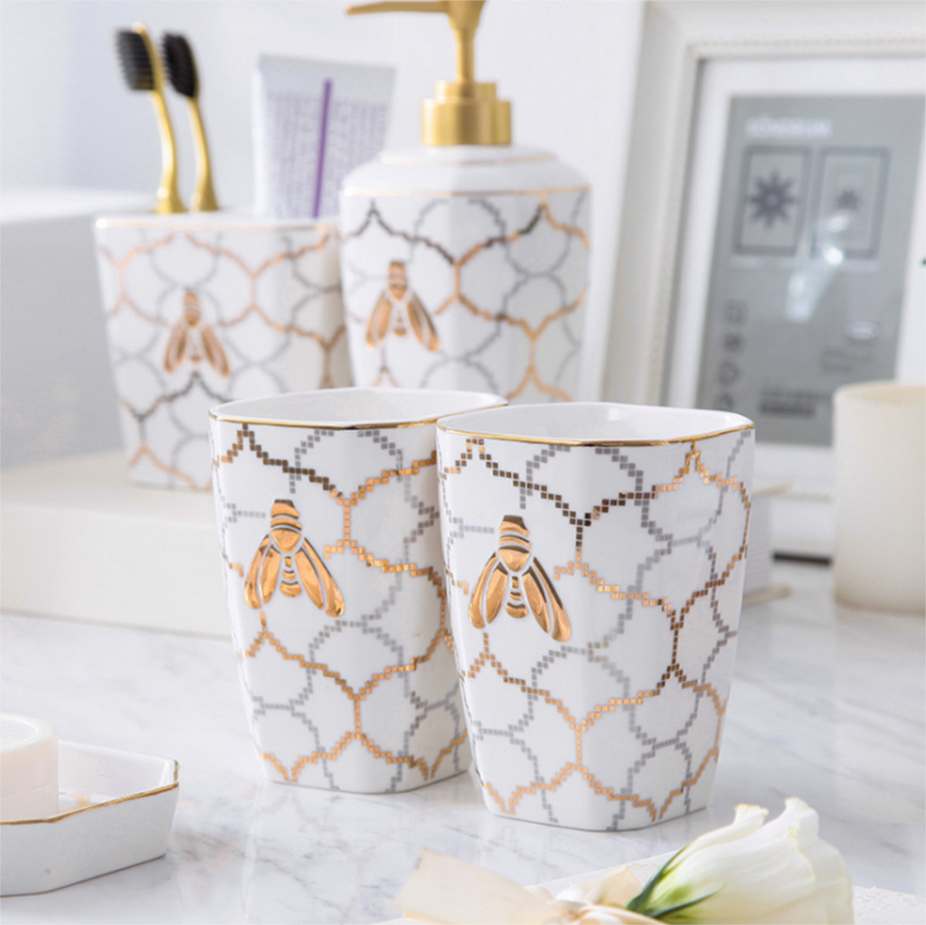 Exquisite Five piece Set Ceramics Bathroom Accessories Soap Dispenser Toothbrush Holder Soap Dish Bathroom Products Gift LFB286 in Bathroom Accessories Sets from Home Garden