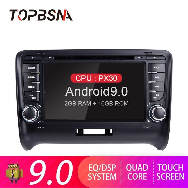 Lecteur DVD de voiture TOPBSNA 2 Din Android 9.0 pour Audi TT MK2 8J 2006-2012 GPS Navigation commande au volant headunit WIFI stéréo