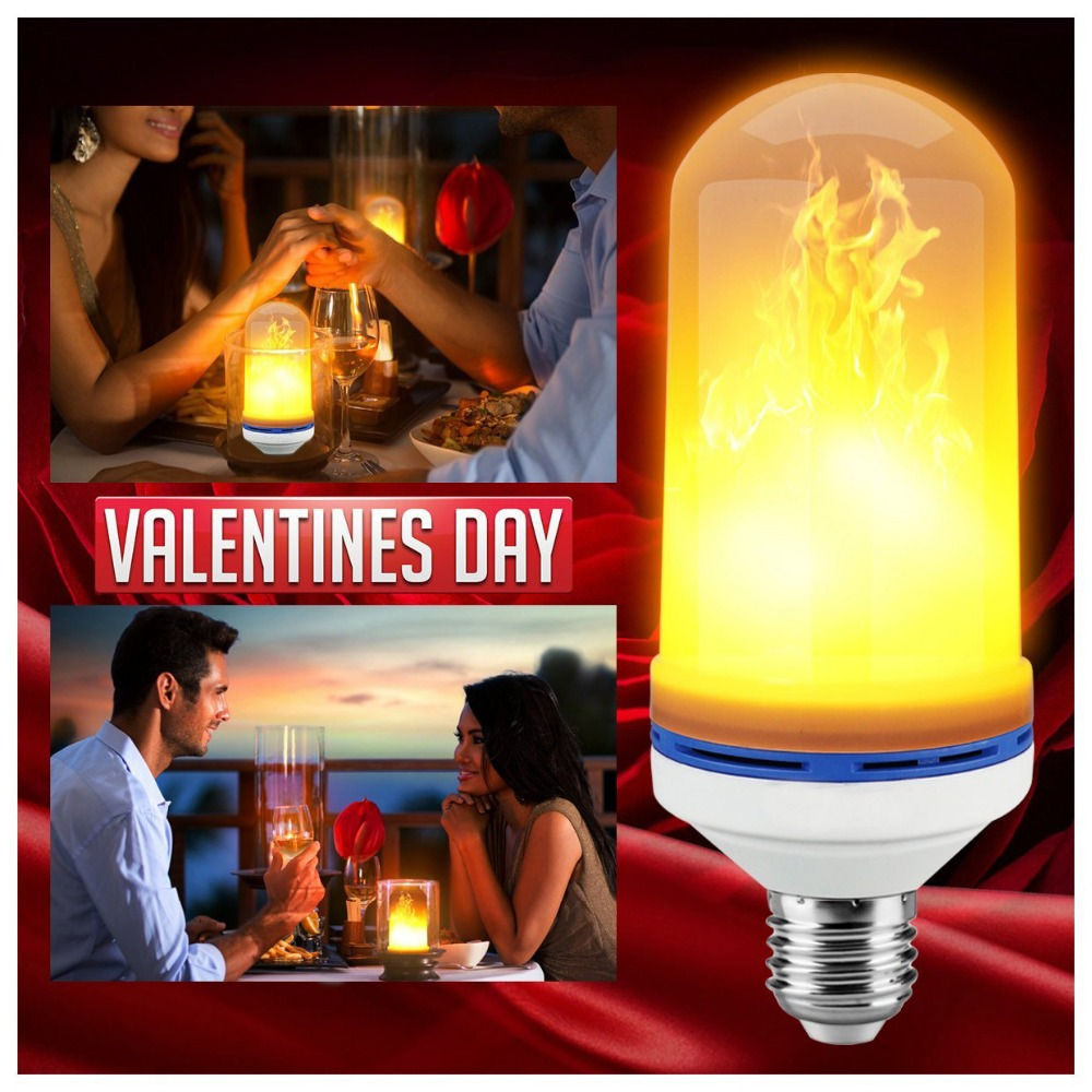 RAYWAY 7W LED Flame Effect Fire Light Bulbs Flickering Emulation Decorative Lamps Simulated Vintage Flame E27 Bulb for Club Bar