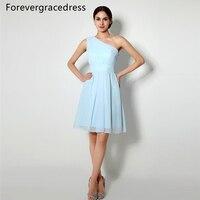 Forevergracedress 2017 Nuovo Breve Sky Light Blue Dress Damigella D'onore A Buon Mercato Una Linea Senza Maniche In Chiffon Festa Nuziale Dell'abito Plus Size