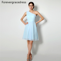 Forevergracedress 2017 New Short Sky Light Blue Bridesmaid Dress Cheap A Line Sleeveless Chiffon Wedding Party