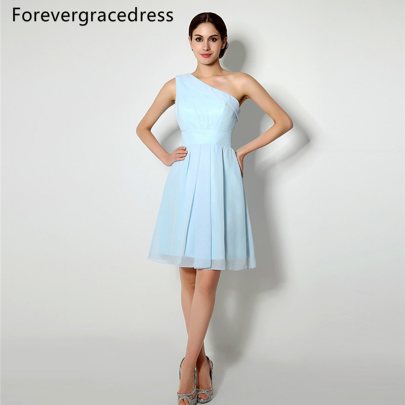 Forevergracedress 2018 New Short Sky Light Blue   Bridesmaid     Dress   Cheap A Line Sleeveless Chiffon Wedding Party Gown Plus Size