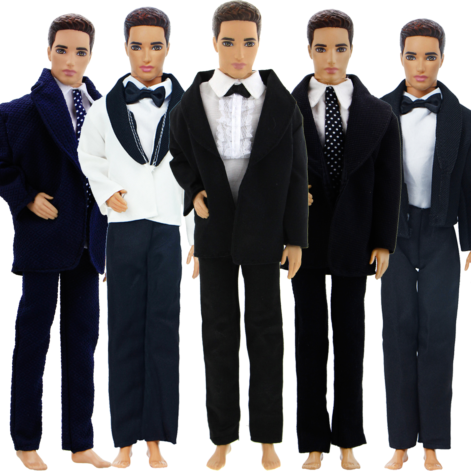 High Quality Handmade Men's Outfit For Barbie Doll Friend Ken Wedding Party Wear Formal Suit Tie Doll Clothes Accessories Toy