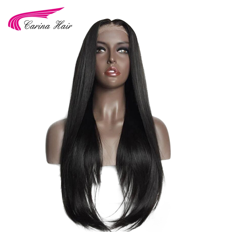 Carina Hair Peruvian Non-Remy Human Hair 150% Density Silk Base Wigs For Black Woman Natural Color Straight Full Lace Wig
