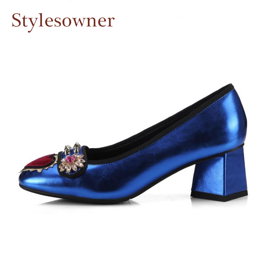 Фотография Stylesowner brand design spike rivet with diamond decor women party wedding pumps embroider chunky high heel fashion lady shoes