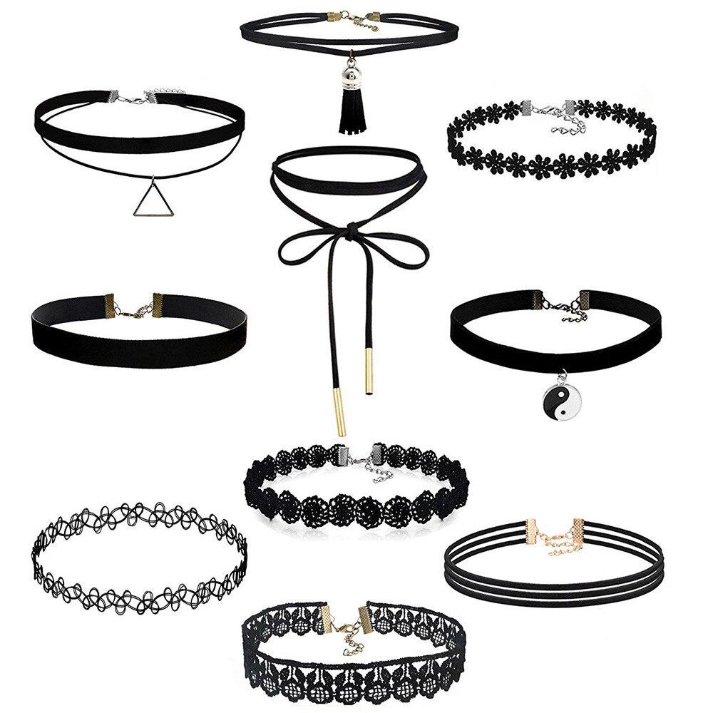 6Pcs//Lot Gothic Punk Black Velvet Tattoo Lace Collar Choker Necklace Accessories