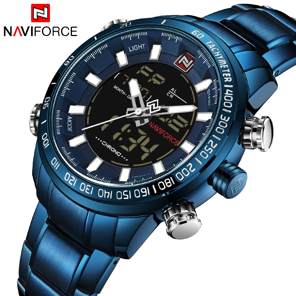 NAVIFORCE Mens Quartz Analog Watch Luxury Fashion LED Sport Wristwatch Waterproof Stainless Male Watches Clock Relogio Masculino 14