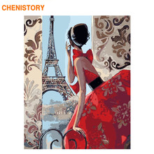 CHENISTORY Frame DIY Painting By Numbers Wall Art Canvas Painting Paris Girl Paint By Numbers Coloring By Numbers Home Decor Art(China)