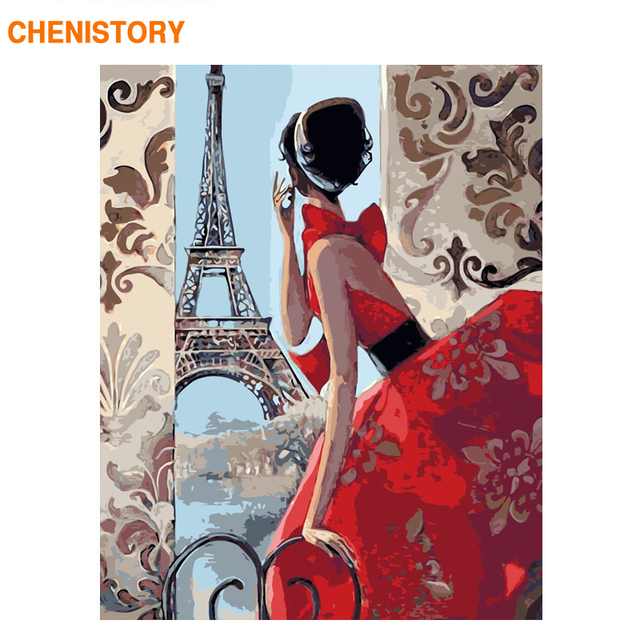 CHENISTORY Frame DIY Painting By Numbers Wall Art Canvas Painting Paris Girl Paint By Numbers Coloring By Numbers Home Decor Art