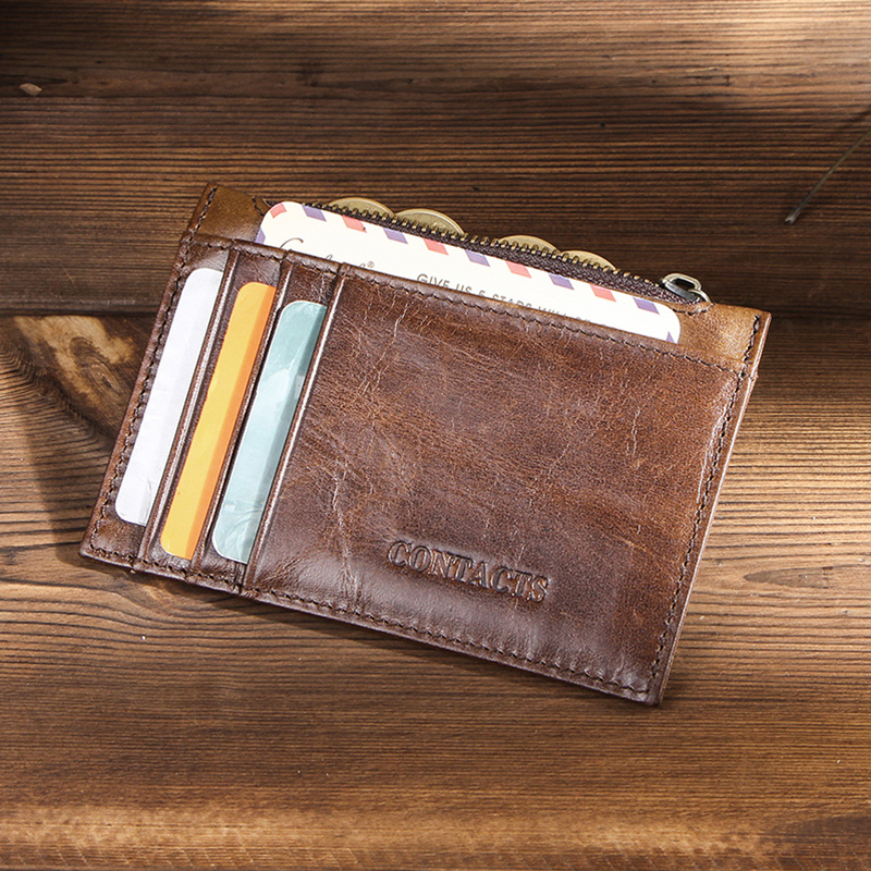CONTACT'S 100% Genuine Leather card holder High capacity men id credit business card holder Male Coin Purse mini Slim Card Case 4