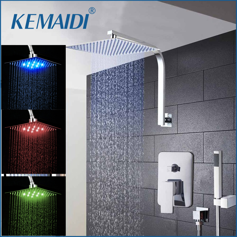 KEMAIDI  8 12 16 Rainfall Shower Head System Polished Chrome Bath & Shower Faucet Bathroom Luxury Rain Mixer Shower Combo SetKEMAIDI  8 12 16 Rainfall Shower Head System Polished Chrome Bath & Shower Faucet Bathroom Luxury Rain Mixer Shower Combo Set