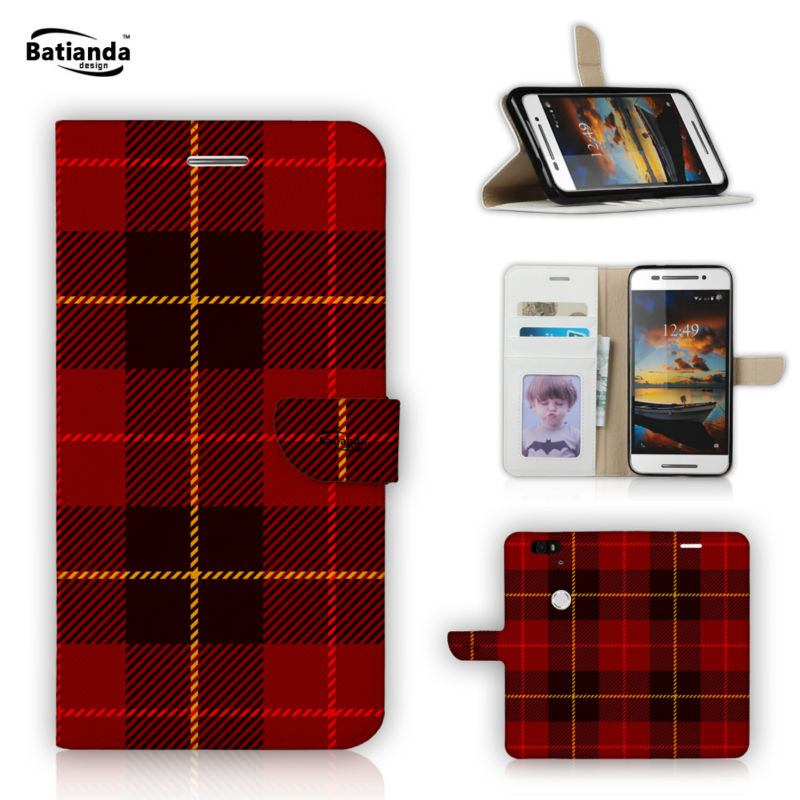 Classical font b Tartan b font Pattern Wallet Leather Case For Huawei Nexus 6P Flip Stand