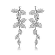 Luxury Elegant Leaf Shape woman Drop Earrings Inlay CZ Noble Charm Bridal Wedding Party Dangle Jewelry Accessories girls Gift