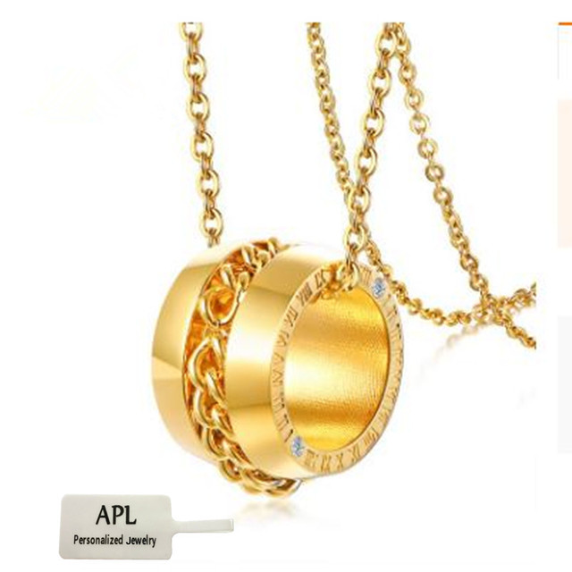 APL - Female Charm Jewelry Roman Digital Necklace Lady's Necklace Golden Stainless Steel Pendant