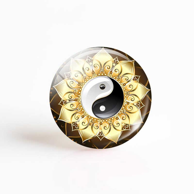 1pcs יין יאנג טאי צ 'י זכוכית קרושון חזרה 25 MM DIY עגול תמונה זכוכית חרוז DIY תכשיטים בעבודת יד תליון שרשרת