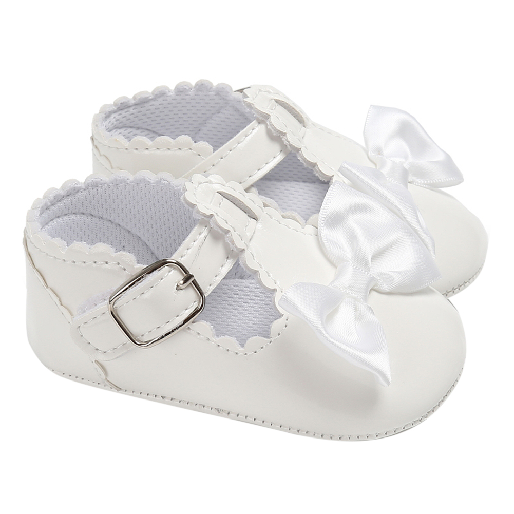 Casual Princess Girls Baby Kids PU Leather Solid Crib Babe Infant Toddler Cute Bow Baby Shoes Newborn First Walker Baby Shoes
