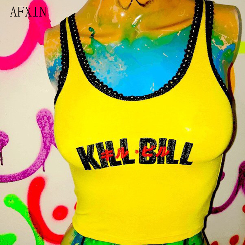 Cool Yellow Lace   Tank     Top   Women Summer Streetwear Embroidery Letter Kill Bill Print Cropped Tshirts Sleeveless Vest Drop Ship