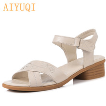 AIYUQI Womens sandals summer 2019 new womens genuine leather big size 42 43 non-slip middle-aged mother female