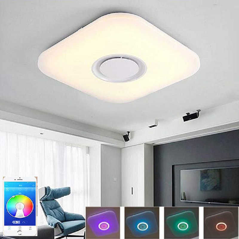 Lights & Lighting New Modern 24w 36w Led Ceiling Light Music Playing Fixture Bluetooth Speaker App Control Smart Home Party Lighting Lampara Techo Elegant In Style