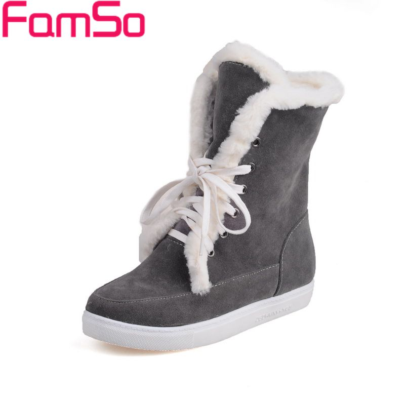 FAMSO Size 34-43 2017 new  Women Riding Boots Black gray Lace-up Flats Shoes Winter Full Fur Warm Snow Boots Shoes ZWB4365