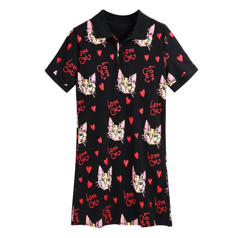 2019 Donne Mini Vestito Sveglio Dolce Amore Del Gatto Di Stampa Femme Abiti Sciolti Lolita Sexy T-shirt Abiti A Maniche Corte Più Il Formato Nero