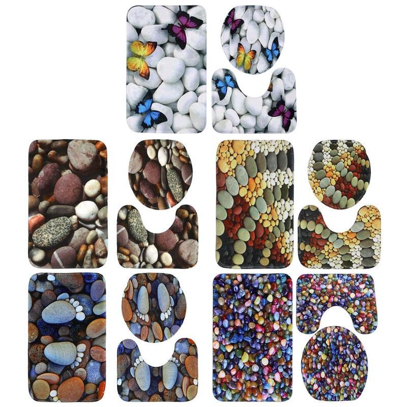 3pcs/set Stone Pattern Anti Slip Water Absorb Floor Rugs ...