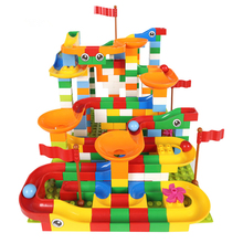 43-296 PCS Marble Race Run Maze Balls Track Building Blocks DIY Funnel Slide Assemble Bricks Compatible Big Size Toys
