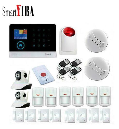 SmartYIBA Touch Key 3G Wireless Alarm With Smoke Detector Surveillance Cameras Panic Button etc.WIFI GPR SMS Alarm Kits
