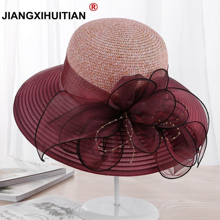 2018 New Large Wide Brim Hats Organza Flower Sun Hats Ladies Kentucky Derby Wedding Party Dress Floppy Summer Hats For Women