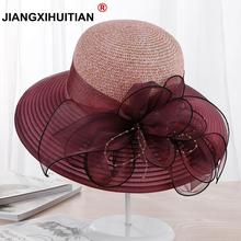 2018 new Large Wide Brim Hats Organza Flower Sun Hats Ladies Kentucky Derby Wedding Party Dress Floppy Summer Hats for Women