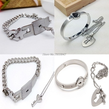 Lovers Titanium Steel Lock Bangle Bracelet Key Pendant Chain Necklace Love Sets For gift  -W128