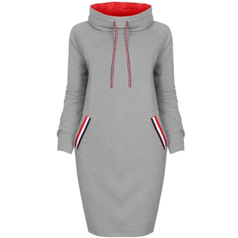 Autumn and Winter Women's Dress Gray Multi-color High Collar Long-sleeved Bag Hip Dress Fashion Casual Bottoming Dress European