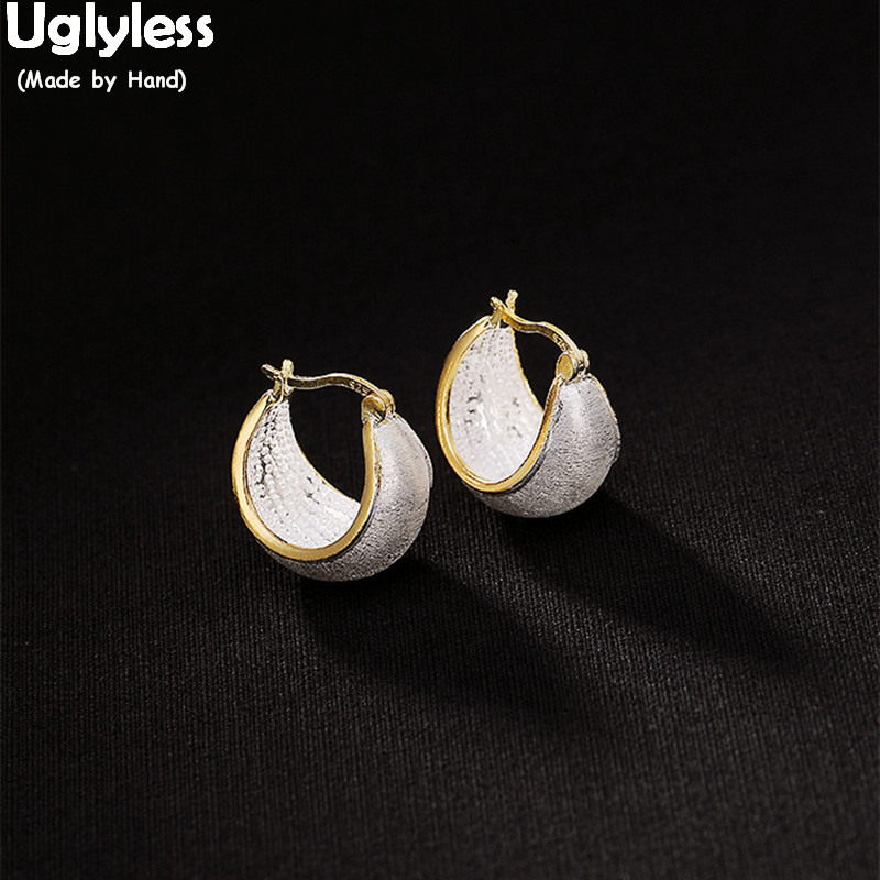Uglyless Real Solid 925 Silver Ear Hoops Women New Design Fine Jewelry Luxury Gold Plated Fashion Dress Earrings Anti Allergy