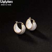 Uglyless Real Solid 925 Silver Ear Hoops Women New Design Fine Jewelry Luxury Gold Plated Fashion Dress Earrings Anti Allergy