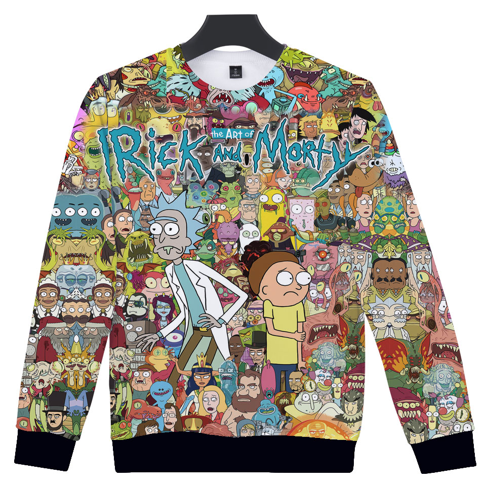 Rick And Morty Sweatshirts Men and Women Funny Anime Printed Hoodies Streetwear Hipster Pullovers Cartoon Rick and Morty Clothes